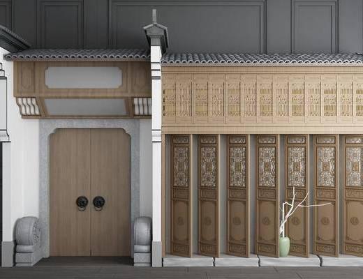 大门窗户, 屋檐徽派, 徽派建筑, 门拱, 中式