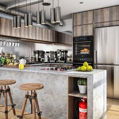 厨房, 吧台, 凳子, 绿植, 冰箱, 吊灯, 消防, 厨房用具, 水果, 咖啡机
