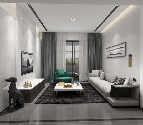 客廳, 餐廳, 沙發組合, 沙發茶幾組合, 餐桌椅組合, 裝飾柜組合, 現代