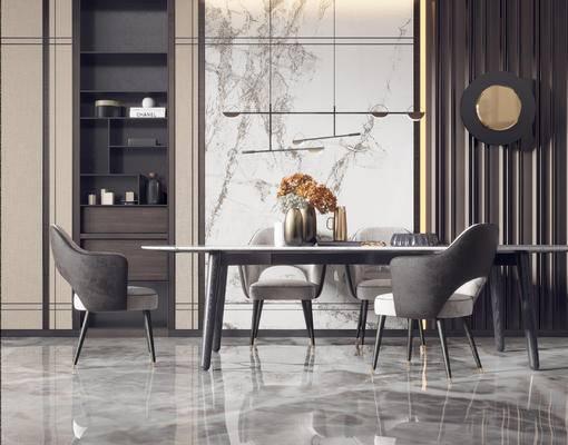 餐桌, 桌椅组合, 吊灯, 墙饰, 桌花