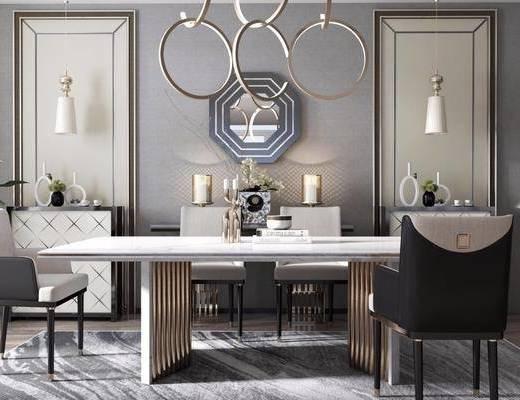 桌椅组合, 墙饰, 吊灯, 壁灯, 落地灯
