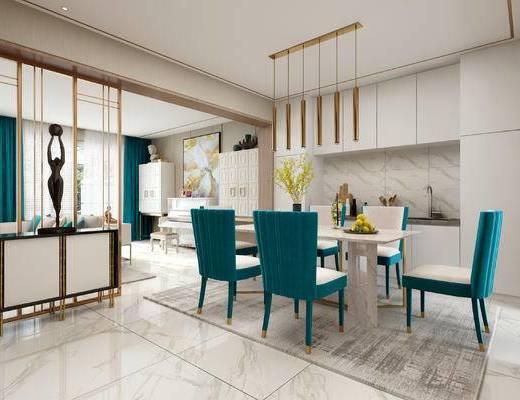 餐厅, 现代餐厅, 餐桌椅, 桌椅组合, 餐具, 吊灯