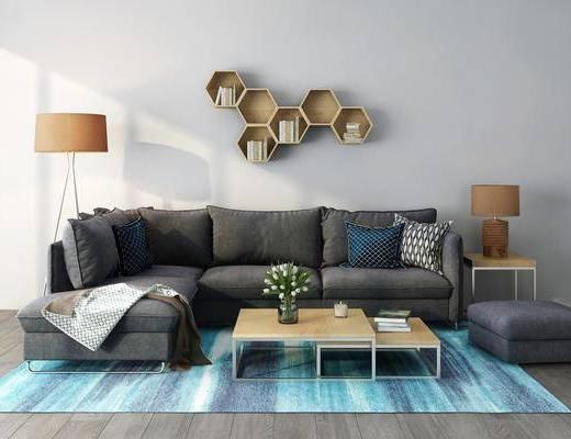 轉角沙發, 沙發組合, 茶幾, 落地燈, 墻飾