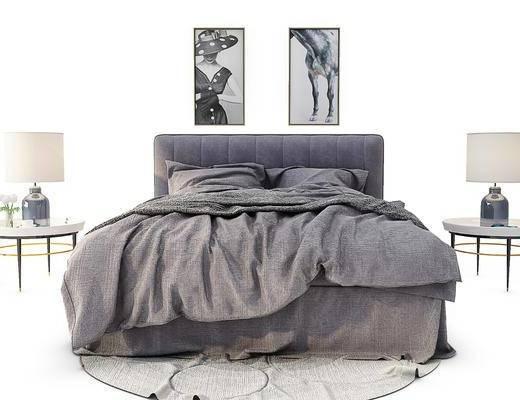 现代双人床, 边几, 挂画