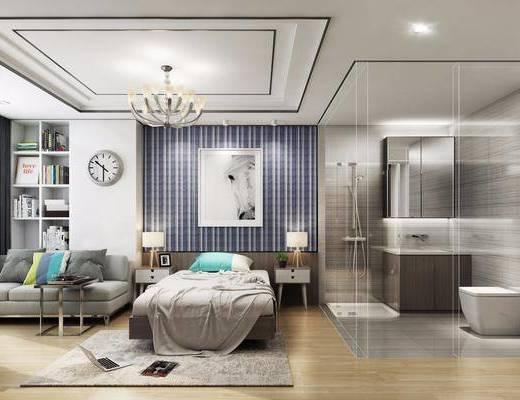 后现代单身公寓, 床, 卧室, 洗手间, 吊灯, 时钟, 沙发