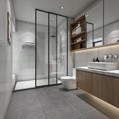 淋浴间, 浴柜, 北欧卫生间, 现代卫生间, 马桶