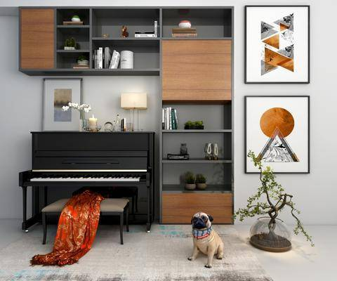 钢琴柜子, 盆栽绿植, 装饰画, 挂画, 装饰柜, 台灯, 书柜, 书籍, 摆件, 装饰品, 陈设品, 凳子, 现代