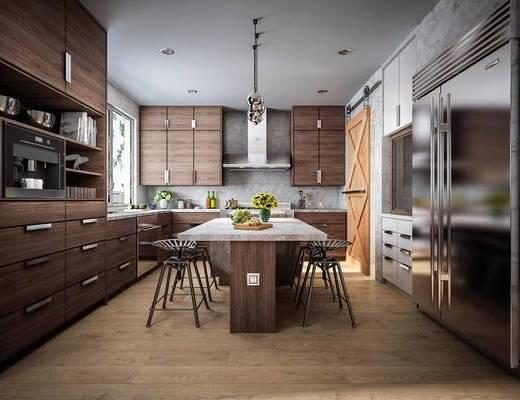 工业风, 厨房, 餐桌椅, 食品, 橱柜, 家用电器