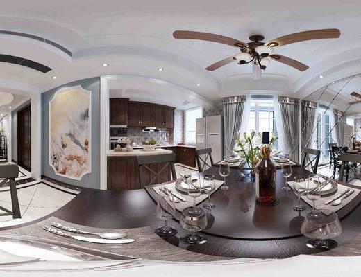 美式简约, 美式餐厅, 餐桌椅, 厨房, 餐厅, 美式厨房