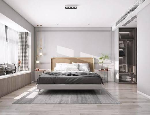 双人床, 吊灯, 地毯, 植物, 衣柜