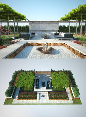 花园庭院, 多人沙发, 转角沙发, 茶几, 植物, 绿植, 盆栽, 现代