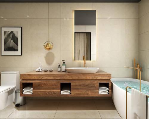 卫生间, 浴缸, 洗手台, 镜子, 吊灯, 马桶