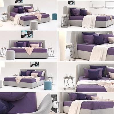 双人床, 床具, 边几, 茶几, 摆件, 装饰品, 现代