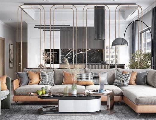 沙发组合, 落地灯, 茶几, 摆件组合, 单椅