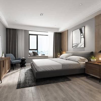 现代, 卧室, 边柜, 电视柜, 床头柜, 台灯, 装饰画, 挂画, 单椅, 休闲椅, 现代卧室