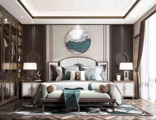 电视柜, 背景墙, 墙饰, 双人床, 衣柜, 地毯, 床头柜, 台灯