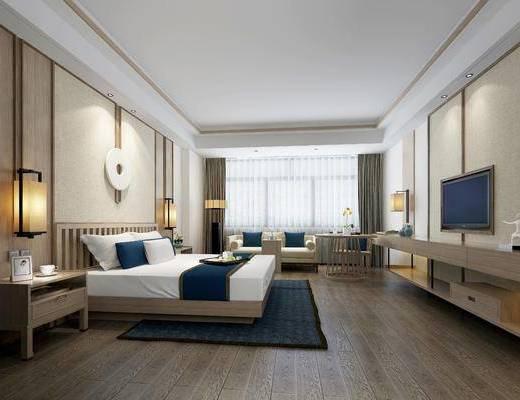 酒店客房, 床具组合, 沙发组合, 新中式酒店客房
