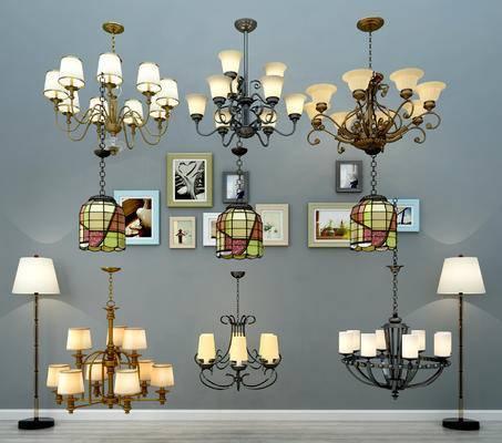 美式灯具组合, 吊灯, 落地灯, 多头吊灯