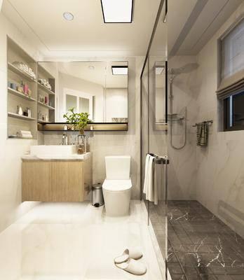 卫生间, 马桶, 花洒, 洗手台, 装饰架, 摆件, 装饰品, 陈设品, 现代