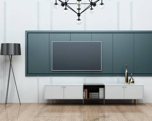 电视柜, 落地灯, 吊灯, 陈设品, 摆件, 现代, 北欧