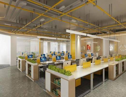 办公区, 开式办公室, 办公桌椅组合, 桌椅组合, 吊灯组合, 工业风