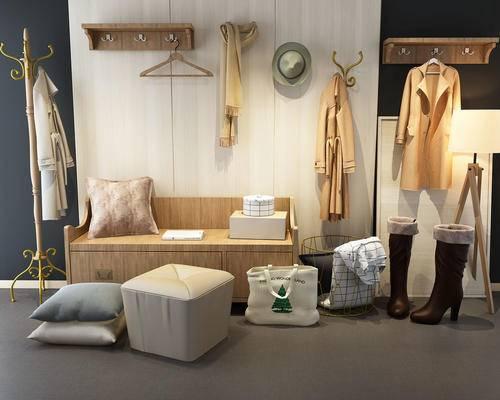 现代, 鞋柜, 挂衣板, 衣物, 鞋子