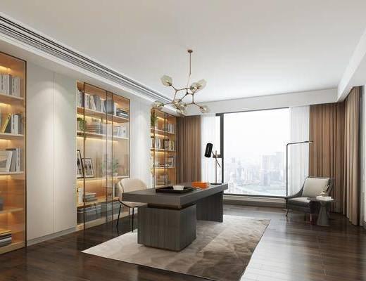 书房, 现代书房, 桌椅组合, 现代书桌, 书柜, 摆件, 单椅, 落地灯, 现代