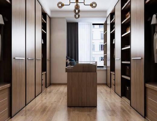 现代衣帽间, 实木衣帽间, 现代吊灯, 现代衣柜