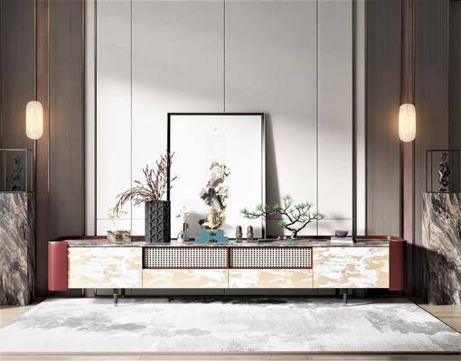 新中式风格电视柜, 饰品摆件, 装饰画