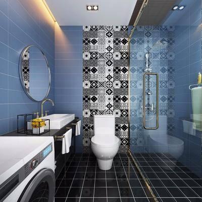 北欧卫生间, 卫生间, 马桶, 洗衣机, 洗手台, 镜子, 浴室