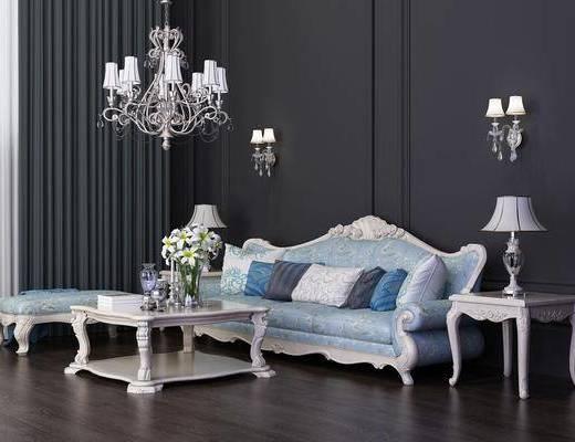 多人沙发, 茶几, 边几, 台灯, 壁灯, 吊灯, 躺椅, 欧式