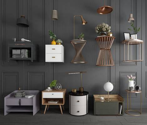 床头柜, 现代床头柜, 摆件组合, 台灯