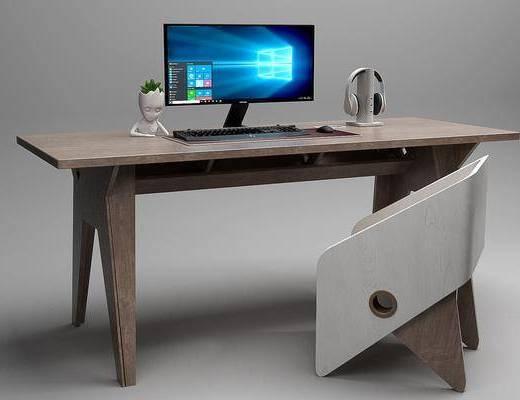 书桌, 单人椅, 装饰品, 陈设品, 现代