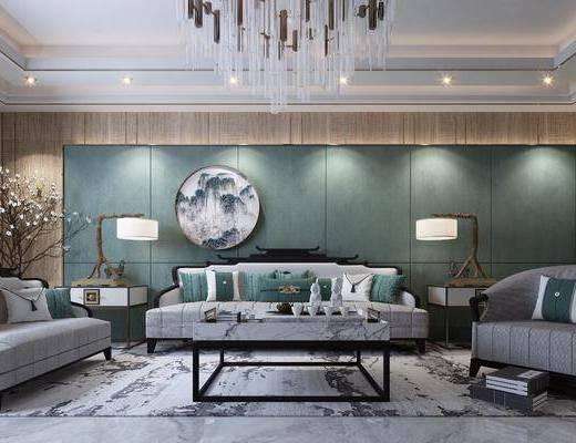 沙发组合, 多人沙发, 双人沙发, 边几, 台灯, 茶几, 单人沙发, 山水画, 圆框画, 装饰画, 挂画, 吊灯, 花瓶花卉, 新中式