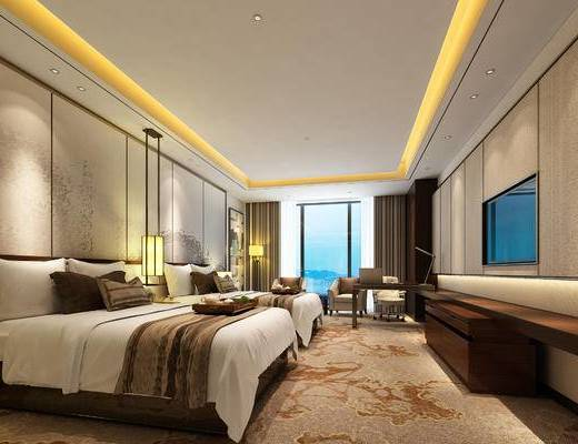 酒店客房, 新中式客房, 新中式, 中式床, 床头柜, 书桌