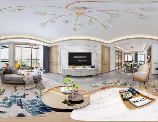 沙发组合, 电视柜, 吊灯, 背景墙, 茶几, 单椅