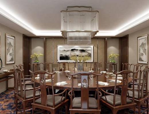 餐厅, 包房, 中式餐厅, 餐桌椅, 桌椅组合, 餐具