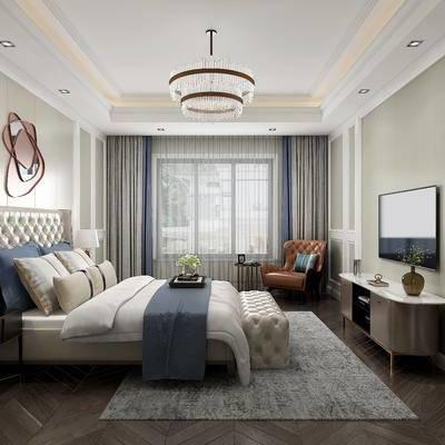 卧室, 吊灯, 床, 床头柜, 电视柜, 椅子, 现代卧室