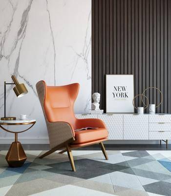 单椅, 休闲椅, 边柜, 茶几, 摆件组合, 装饰画