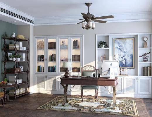 书房, 书桌, 单人椅, 台灯, 书柜, 书籍, 装饰品, 陈设品, 风扇灯, 装饰画, 挂画, 装饰架, 边几, 美式