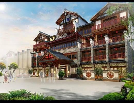 酒店, 中式, 新中式, 古建, 门面, 门头