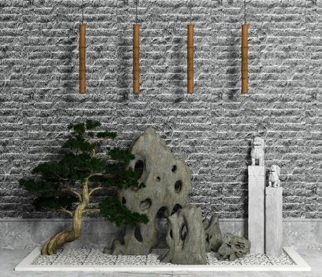 假山, 小景, 园艺, 景观, 松树, 拴马桩, 鹅卵石