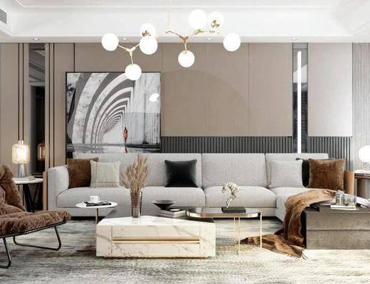 沙發組合, 茶幾, 吊燈, 單椅, 擺件組合, 裝飾畫