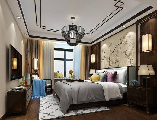 客房, 卧室, 中式, 床, 吊灯, 床头柜