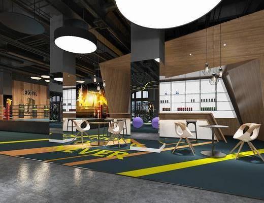 健身房, 桌椅組合, 健身器材, 吊燈, 工業風