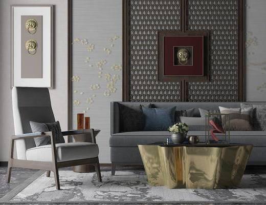 沙发组合, 多人沙发, 单人沙发, 茶几, 装饰画, 摆件, 装饰品, 陈设品, 新中式