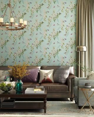 沙发组合, 美式沙发, 沙发茶几组合, 吊灯, 落地灯, 花瓶