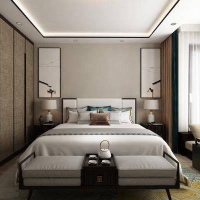 新中式, 卧室, 衣柜, 挂画, 双人床, 窗帘, 地毯, 托盘
