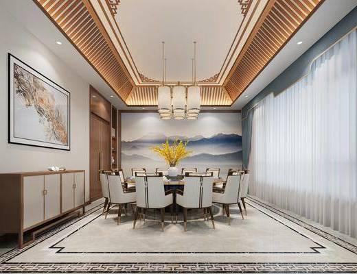 边柜, 装饰画, 吊灯, 餐桌, 桌椅组合, 背景墙