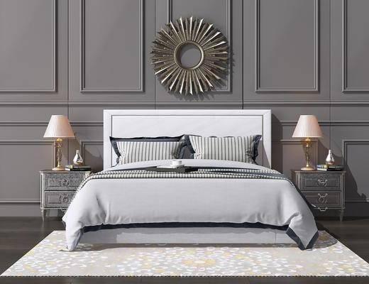 床具组合, 双人床, 床头柜, 台灯, 墙饰, 新中式